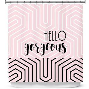 Premium Shower Curtains   Zara Martina - Hello Gorgeous Geo Pattern Pink