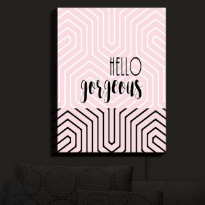 Nightlight Sconce Canvas Light | Zara Martina - Hello Gorgeous Geo Pattern Pink | Hello Gorgeous Geo Pattern Sayings