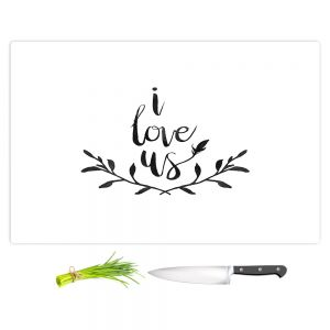 Artistic Kitchen Bar Cutting Boards | Zara Martina - I Love Us Black White