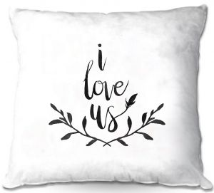 Decorative Outdoor Patio Pillow Cushion | Zara Martina - I Love Us Black White