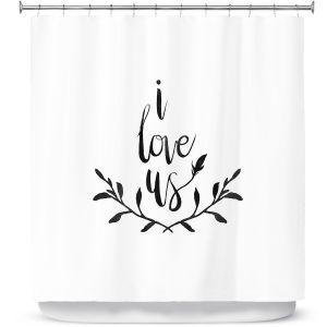 Premium Shower Curtains | Zara Martina - I Love Us Black White