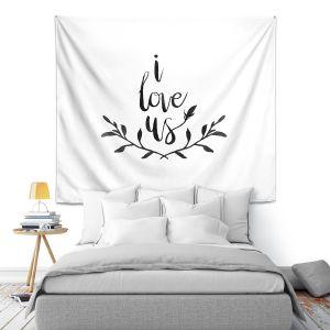 Artistic Wall Tapestry | Zara Martina - I Love Us Black White