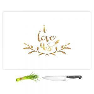 Artistic Kitchen Bar Cutting Boards | Zara Martina - I Love Us Gold White