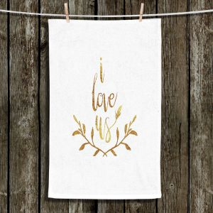 Unique Hanging Tea Towels | Zara Martina - I Love Us Gold White | I Love Us Sayings Love Wedding
