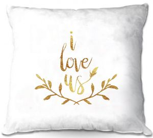 Decorative Outdoor Patio Pillow Cushion | Zara Martina - I Love Us Gold White
