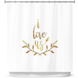 Premium Shower Curtains | Zara Martina - I Love Us Gold White
