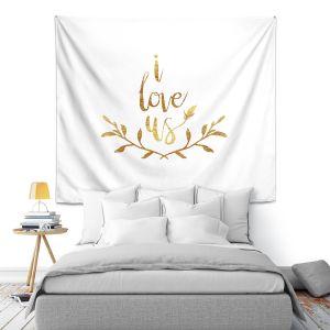 Artistic Wall Tapestry | Zara Martina - I Love Us Gold White