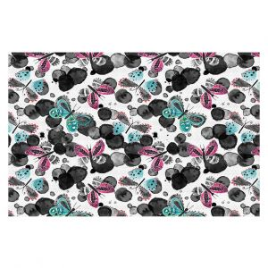 Decorative Floor Covering Mats | Zara Martina - Inky Butterflies | pattern insect critter bug