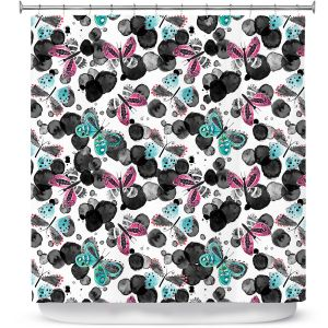 Premium Shower Curtains | Zara Martina - Inky Butterflies | pattern insect critter bug