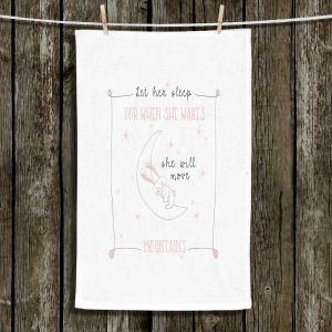 Unique Hanging Tea Towels | Zara Martina - Let Her Sleep Rose | Typography Childlike Children