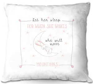 Decorative Outdoor Patio Pillow Cushion | Zara Martina - Let Her Sleep Rose | Typography Childlike Children