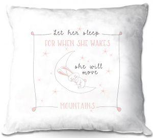 Decorative Outdoor Patio Pillow Cushion   Zara Martina - Let Her Sleep Rose   Typography Childlike Children