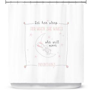 Premium Shower Curtains   Zara Martina - Let Her Sleep Rose   Typography Childlike Children