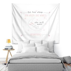 Artistic Wall Tapestry | Zara Martina - Let Her Sleep Rose | Typography Childlike Children