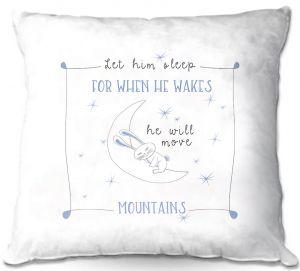 Decorative Outdoor Patio Pillow Cushion | Zara Martina - Let Him Sleep Blue | Typography Childlike Children