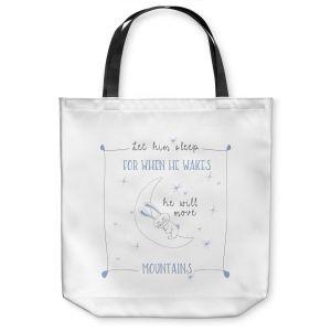 Unique Shoulder Bag Tote Bags | Zara Martina - Let Him Sleep Blue | Typography Childlike Children