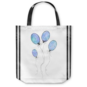 Unique Shoulder Bag Tote Bags | Zara Martina - Let It Go Blue Black Stripe White | Typography Inspiring Balloons