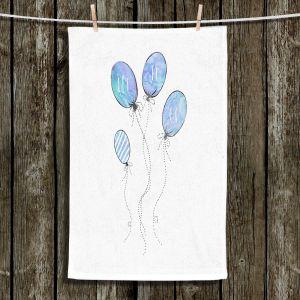 Unique Hanging Tea Towels | Zara Martina - Let It Go Blue White | Typography Inspiring Balloons