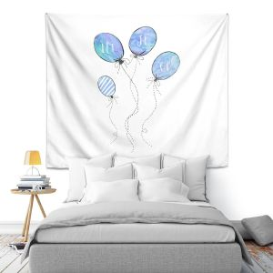 Artistic Wall Tapestry | Zara Martina - Let It Go Blue White | Typography Inspiring Balloons