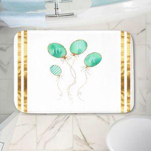 Decorative Bathroom Mats | Zara Martina - Let It Go Mint Gold Stripe White | Typography Inspiring Balloons