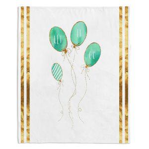 Decorative Fleece Throw Blankets | Zara Martina - Let It Go Mint Gold Stripe White | Typography Inspiring Balloons
