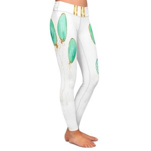 Casual Comfortable Leggings | Zara Martina - Let It Go Mint Gold Stripe White | Typography Inspiring Balloons