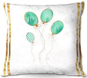 Decorative Outdoor Patio Pillow Cushion   Zara Martina - Let It Go Mint Gold Stripe White   Typography Inspiring Balloons