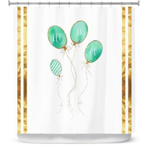 Premium Shower Curtains | Zara Martina - Let It Go Mint Gold Stripe White | Typography Inspiring Balloons