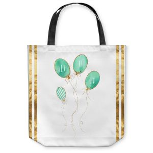Unique Shoulder Bag Tote Bags | Zara Martina - Let It Go Mint Gold Stripe White | Typography Inspiring Balloons