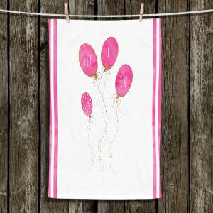 Unique Hanging Tea Towels | Zara Martina - Let It Go Pink Gold Stripe White | Typography Inspiring Balloons