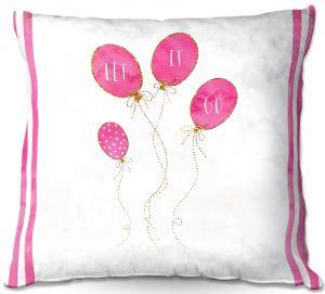 Decorative Outdoor Patio Pillow Cushion | Zara Martina - Let It Go Pink Gold Stripe White | Typography Inspiring Balloons
