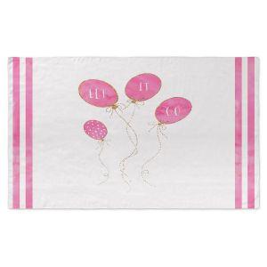 Artistic Pashmina Scarf | Zara Martina - Let It Go Pink Gold Stripe White | Typography Inspiring Balloons