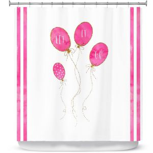 Premium Shower Curtains | Zara Martina - Let It Go Pink Gold Stripe White | Typography Inspiring Balloons