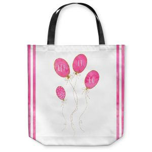 Unique Shoulder Bag Tote Bags | Zara Martina - Let It Go Pink Gold Stripe White | Typography Inspiring Balloons