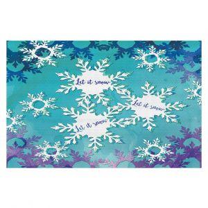 Decorative Floor Coverings   Zara Martina - Let It Snow Blue Purple   Holiday Snowflakes