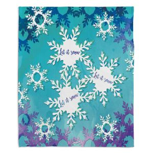Artistic Sherpa Pile Blankets | Zara Martina - Let It Snow Blue Purple | Holiday Snowflakes