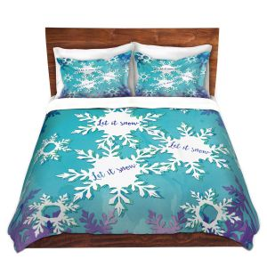 Artistic Duvet Covers and Shams Bedding | Zara Martina - Let It Snow Blue Purple | Holiday Snowflakes