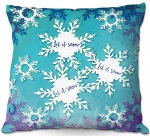 Throw Pillows Decorative Artistic | Zara Martina - Let It Snow Blue Purple | Holiday Snowflakes