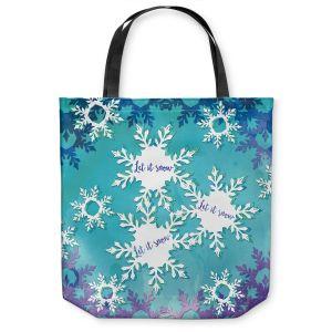 Unique Shoulder Bag Tote Bags | Zara Martina - Let It Snow Blue Purple | Holiday Snowflakes