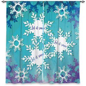 Decorative Window Treatments   Zara Martina - Let It Snow Blue Purple   Holiday Snowflakes