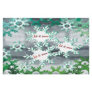 Decorative Floor Coverings   Zara Martina - Let It Snow Green Silver   Holiday Snowflakes