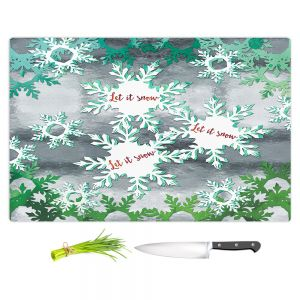 Artistic Kitchen Bar Cutting Boards | Zara Martina - Let It Snow Green Silver | Holiday Snowflakes