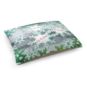 Decorative Dog Pet Beds   Zara Martina - Let It Snow Green Silver   Holiday Snowflakes