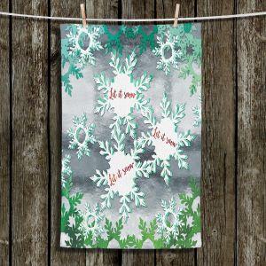 Unique Hanging Tea Towels | Zara Martina - Let It Snow Green Silver | Holiday Snowflakes
