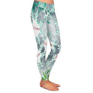 Casual Comfortable Leggings | Zara Martina - Let It Snow Green Silver | Holiday Snowflakes