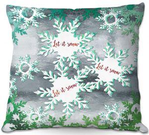 Throw Pillows Decorative Artistic | Zara Martina - Let It Snow Green Silver | Holiday Snowflakes