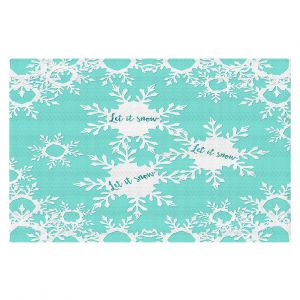 Decorative Floor Coverings   Zara Martina - Let it Snow Mint   Holiday Snowflakes