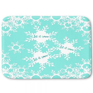 Decorative Bathroom Mats   Zara Martina - Let it Snow Mint   Holiday Snowflakes