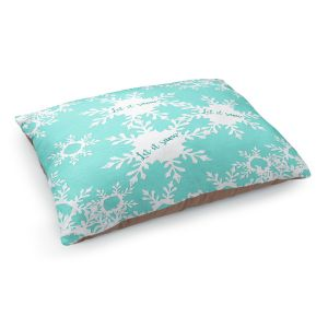 Decorative Dog Pet Beds | Zara Martina - Let it Snow Mint | Holiday Snowflakes