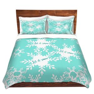 Artistic Duvet Covers and Shams Bedding | Zara Martina - Let it Snow Mint | Holiday Snowflakes